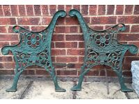 Pair of cast iron bench ends with beautiful design