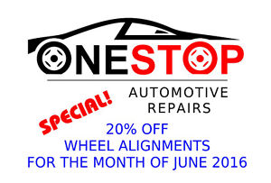 20% Off Wheel Alignments at One Stop Auto Repair