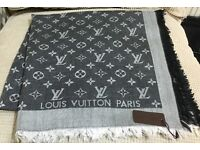 Louis Vuitton scarf shawl pashmina grey color 140x140cm