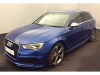 2016 BLUE AUDI RS3 SPORTBACK 2.5 TFSI 363 QUATTRO 5DR AUTO CAR FINANCE FR 113 PW