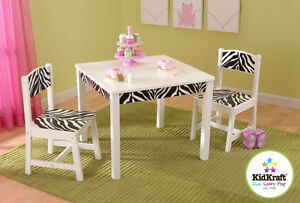 NEW: KidKraft Funky Table and Chair Set - Zebra