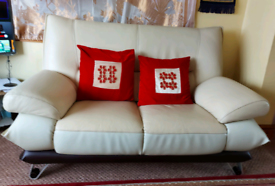 Beautiful White Leather Sofa with cushions
