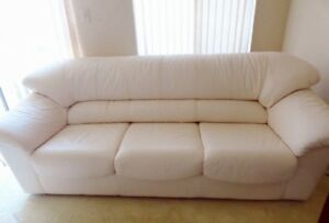 Leather 3 piece couch love seat chair set in cream shade