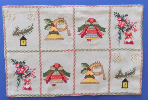 Beautiful Vintage Handmade Embroidered  Table Runner Christmas