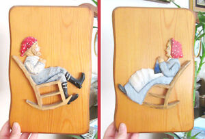 Hand Carved Wood Pictures - Grandma & Grandpa in Rocking Chairs
