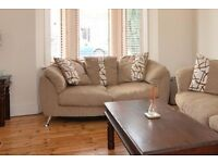 Free: 2 seater sofa in light brown and white. pick on 29th april only