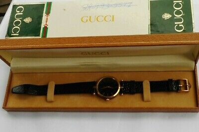 RARE Vintage Gucci Watch Wristwatch & Box Case Authentic Black & Gold LOOK WOW