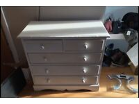 Cream wooden chest of drawers