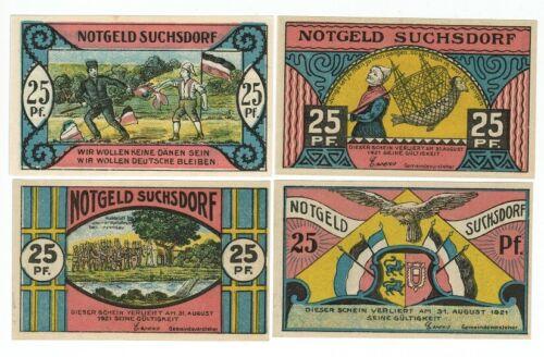 SET OF 4 GERMANY NOTGELD 25 PFENNIG SUCHSDORF 1921 UNC