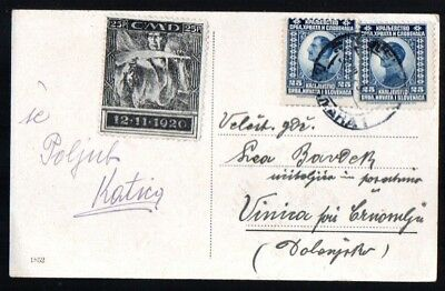 Yugoslavia: 1923 Easter pp to Vinica from Lyubljana with CMD 25 p. charity label