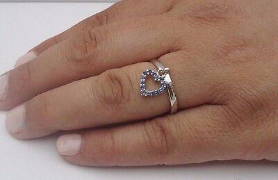 925 STERLING SILVER LADIES HANGING HEART RING W/ .50 CT TANZANITE /SZ 5,6,7,8,9 (Hanging Ring)