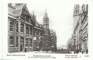 Warwickshire-Postcard-Old-Birmingham-Corporation-Street-Law-Courts-U678