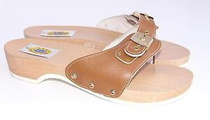 NEW - DR SCHOLLS Original 7 M Brown Wooden Exercise Sandals Shoes 70s