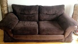 Brown corded 2&3 seater couch for sale