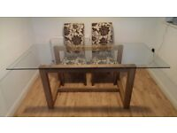 Dining/kitchen table glass top with 6 chairs