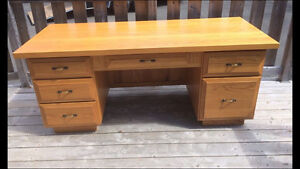 Large, Hand-crafted, Solid Oak Office Desk