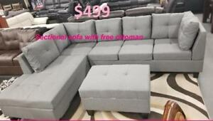 SALE ON NOW 3PCS LINEN FABIRC SECTIONAL WITH FREE STORAGE OTTOMAN $499 LOWEST PRICES GUARANTEED