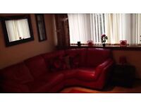 Red leather corner Suite great condition