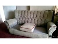 1950's three seater settee + 2 arm chairs