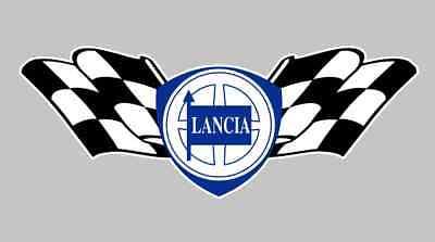 LANCIA Sticker 125mm Checkered Flag Car Race Rally Stratos Integrale Fulvia ()