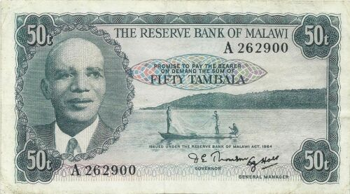 MALAWI 50 TAMBALA 1964 ~ P-5 ~ FIRST YEAR OF ISSUE ~  VERY NICE PROBLEM FREE