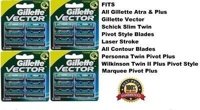 24 GILLETTE Vector BLADES Cartridges Fits Atra Plus Razor Shaver Refills USA New Atra Plus Refill Cartridges
