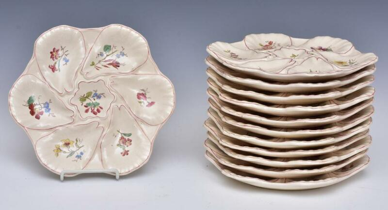Set Of 12 French Faience Longchamp Oyster Plates + 2 Footed Servers