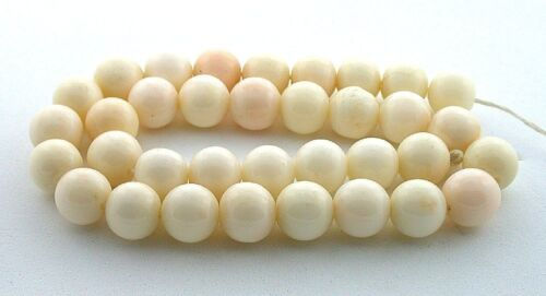 "Vintage 9.5mm to 10mm Round Genuine Italian Angel Skin Coral 12 1/4"" Bead Strand"