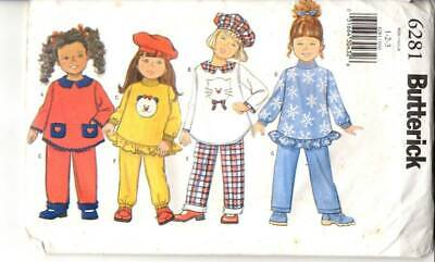 UNCUT Butterick Sewing Pattern Pants Top Hat Outfit 6281 Toddler