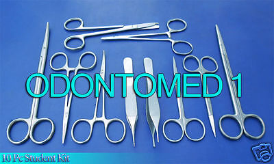 10 Pc Student Suture Surgical Pack Set Kit Instruments Ds-734