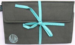 Luxury SILK Interchangeable Knitting Needle Roll Case 30cmL GREY/AQUA