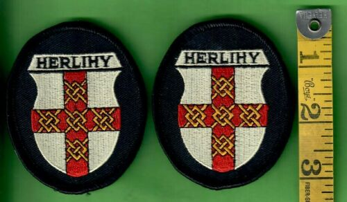 VINTAGE HERLIHY FAMILY CREST CLOTH PATCH LOT OF TWO
