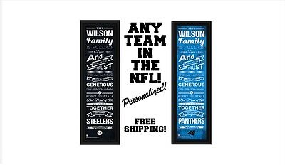 NFL PERSONALIZED FAMILY PRINT - FOOTBALL MAN CAVE 8 x 24  NEW - FREE - Personalized Footballs