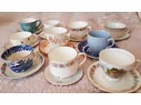 10 vintage mismatch cups and saucers