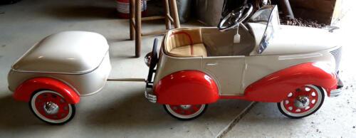 Pressed Steel 1937 Skippy Ford Coupe Pedal Car w/Custom Made Fiberglass Trailer
