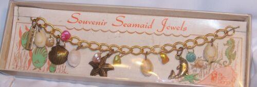 Vintage Surf City NC Beach Charm Bracelet-Souvenir Seamaid Jewels-Original Box