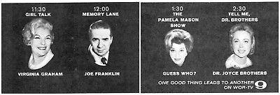 1964 WOR Tv Ad~Virginia Graham-Joe Franklin-Pamela Mason-Dr Joyce Brothers (TV9)