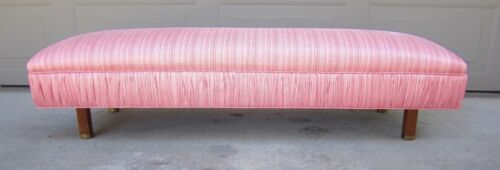 Low long upholstery bench pouf Edward Wormley Baughman mid century modern