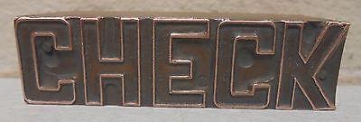 Vintage Check Metal Wood Letterpress Printing Block Type