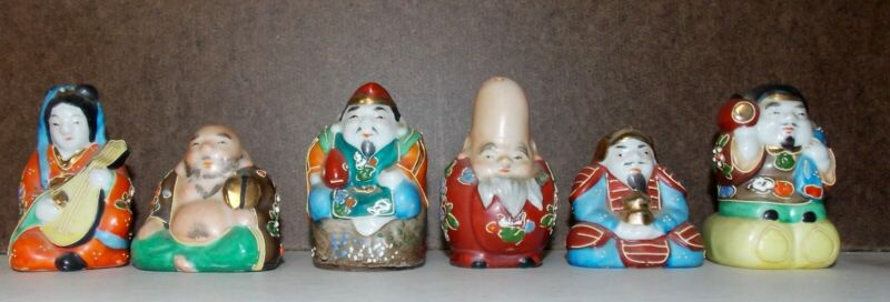 6 ANTIQUE JAPAN JAPANESE HAND PAINTED SALT & PEPPER SHAKERS FIGURES