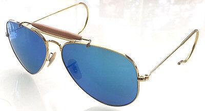 RAY BAN 3030 58 OUTDOORSMAN GOLD GOLD CUSTOMIZED POLARIZED MIRROR BLUE REMIX