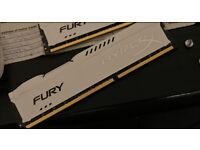 Hyperx fury ddr3 1866MHz 2x8gb white ram (16gb total)