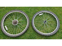 """Two Bicycle Wheels 26"""" Front and Rear"""