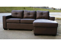 New brown leather sofa-bed