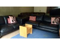 Can Deliver- Black Leather 3 and 2 Seater Sofa Suite