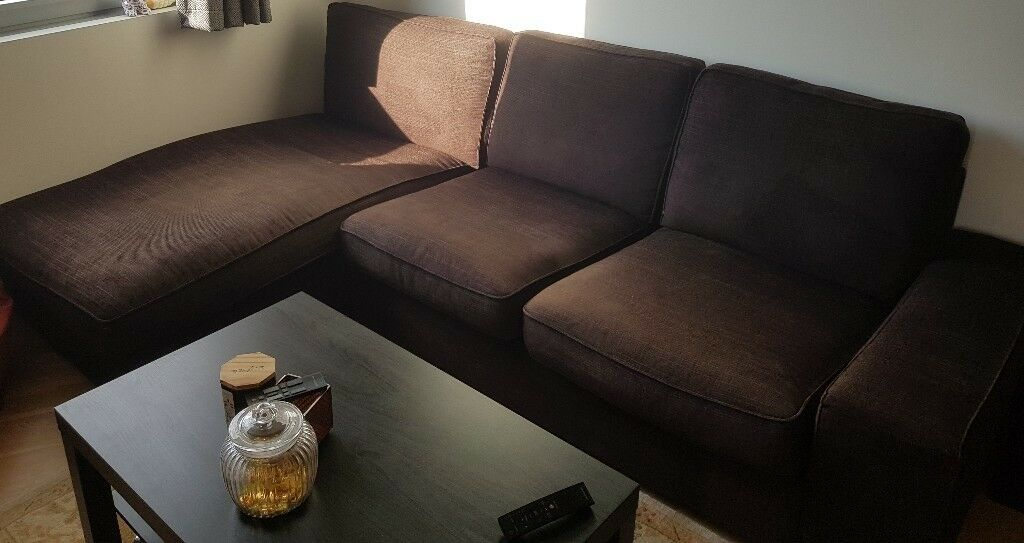 Three Seater Ikea Kivik Corner Sofa With Chaise Lounge Dark Brown Fabric