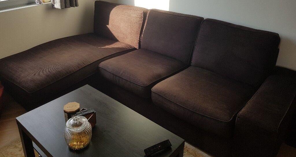 Phenomenal Three Seater Ikea Kivik Corner Sofa With Chaise Lounge Dark Brown Fabric In Croydon London Gumtree Inzonedesignstudio Interior Chair Design Inzonedesignstudiocom