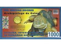 2009 ** GALAPAGOS ISLANDS ' POLYMER ' 1000 SUCRES BANKNOTE ** PERFECT MINT UNCIRCULATED
