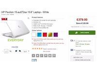 """HP Pavilion 15-au072sa 15.6"""" Laptop - White"""