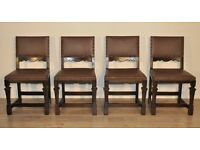 Attractive Set Of 4 Four Vintage Carved Oak & Leather Dining Kitchen Chairs